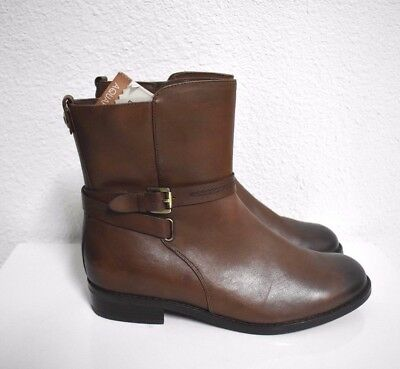 New Blondo Women's Zipper brown Leather Buckle Ankle Boots Booties Size 9.5