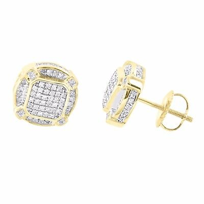 10k Gold Earrings Mens Womens High End Screw On Pave Round Cut Diamond Stud 10mm
