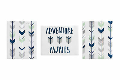 Woodland Navy Mint Arrow Wall Art Room Decor Hangings Baby Nursery Kids Children