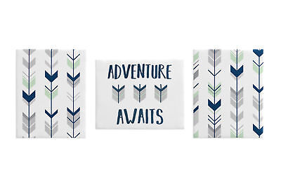 Woodland Mint Navy Arrow Wall Art Room Decor Hangings Baby Nursery Kids Children