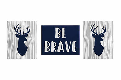 Navy Grey Woodland Deer Wall Art Room Decor Hangings Baby Nursery Kids Children