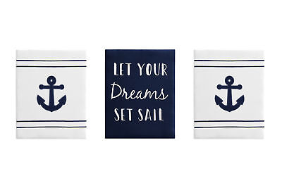 Navy Blue Nautical Anchors Wall Art Room Decor Hanging Baby Nursery Kid Children