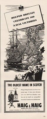 1942 Haig & Haig Scotch Helped Britain Celebrate 100 Naval Victories Print Ad