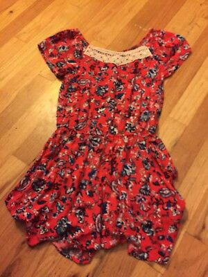 NWOT Girls Art Class One Piece Romper Large 10/12 Red