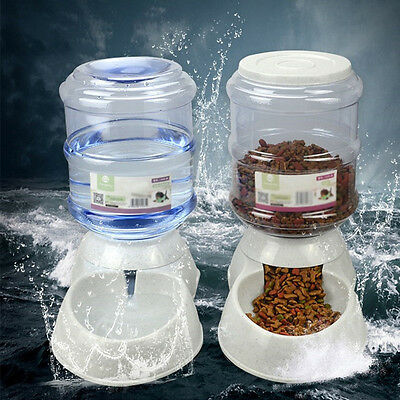 Large Automatic Feeder Pet Dog Cat Puppy Water Drinker .Dispenser Food Bowl#