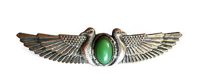 Vintage 1920s Art Deco Egyptian Revival Silver & Green Glass BROOCH PIN