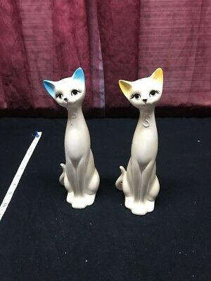 """A Vintage Rossini Pair Of 9"""" Tall Cool Cats Salt And Pepper Shakers"""