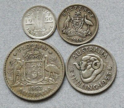 AUSTRALIA Three Pence Sixpence Shilling Florin 1948-1953 Lot of 4 Silver Coins
