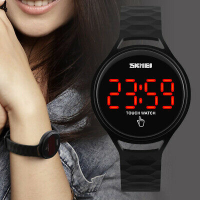 Skmei Mens Womens Waterproof Touch Screen Silicone Red LED Digital Sport Watch