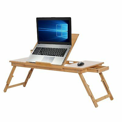 HomCom Foldable Laptop Desk PC Stand Adjustable Notebook Table Bed Ipad Holder