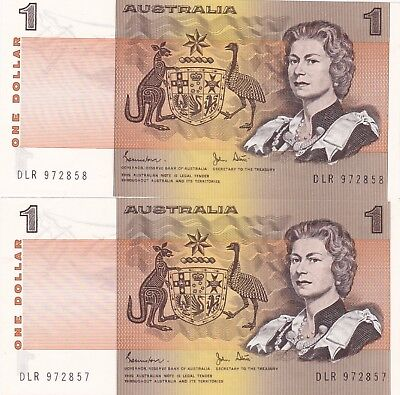 TWO CONSECUTIVE 1983 AUSTRALIA P42d ONE DOLLAR BANKNOTES IN MINT CONDITION