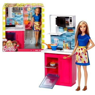 Barbie - Furniture Furnishing - Single Kitchen with Accessories and Doll