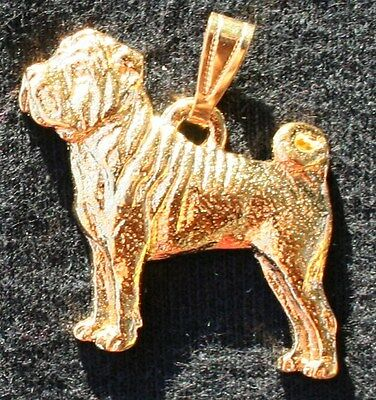 SHAR PEI Dog 24K Gold Plated Pewter Pendant Jewelry USA Made
