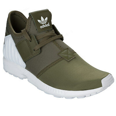 Mens adidas Originals Zx Flux Plus Trainers In Olive From Get The Label