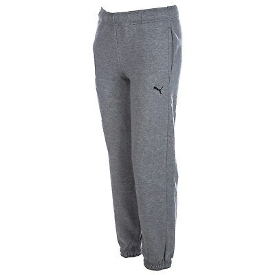 Junior Boys Puma Essential Jog Pants In Grey-Ribbed Wait And Cuffs-Pockets To