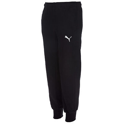 Junior Boys Puma Mestre Track Pants In Black-Ribbed Cuffs And Waist-Pockets To