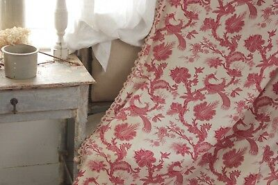 Antique French 19th century curtain toile 18th century design red  Indienne old