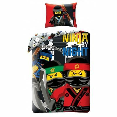 Lego Ninjago By Night Single Duvet Cover Set Cotton Childrens - 2 In 1 Design