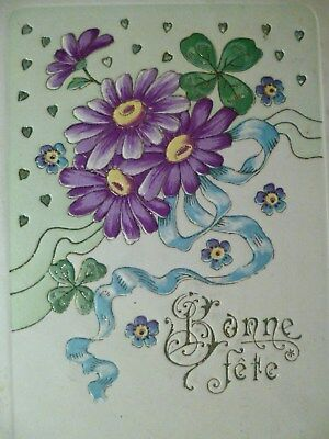 cpa gaufrée fleur aster trefle postcard embossed flower cartolina fiore carte pc