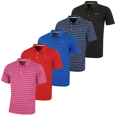 Puma Golf Mens Essential Mixed Stripe DryCell Tech Golf Polo Shirt