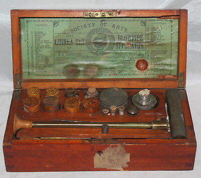 Antique 19th C. Society of Arts Blowpipe Apparatus Assay Set by Letcher England