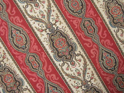 Antique French fabric red c1870 Indienne  Block printed