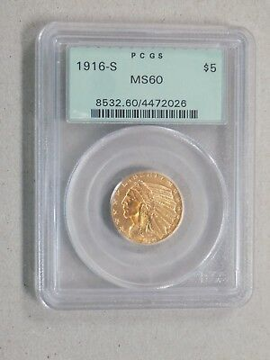 1916 S $5 Five Dollar Indian Gold Coin Pcgs Ms60 Ogh Better Date