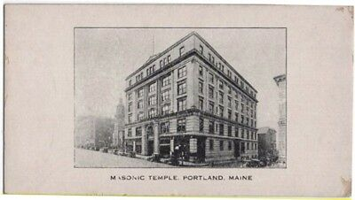Vintage Ink Blotter Showing The Masonic Temple in Portland, Maine