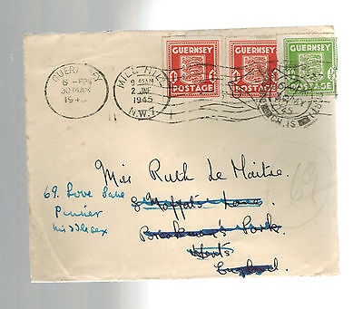 1945 Guernsey Channel Islands Post Occupation Forwarded Cover to England