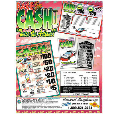 """Race For Cash II"" 1 Window Pull Tab 659 Tickets Payout $535"