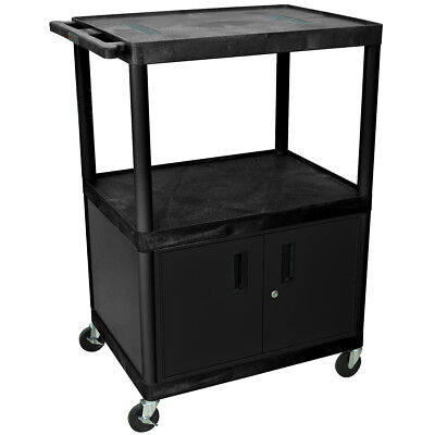Luxor LE48C-B 48-Inch Black Three Shelf Endura Audio and Video Cart w/ Cabinet