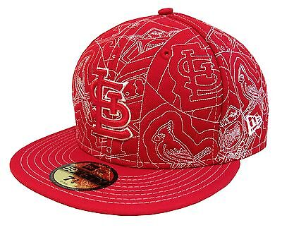 New Era 59Fifty St Louis CARDINALS Red w/ White Embroidey Fitted Cap Size 7 3/4
