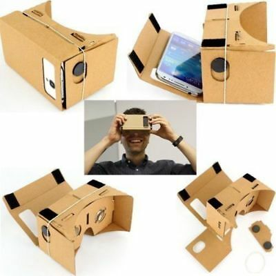 3D Cardboard VR Virtual Reality Google Headset Movie Games Glasses for Phones