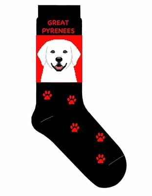 Great Pyrenees Socks Lightweight Cotton Crew Stretch Egyptian Red