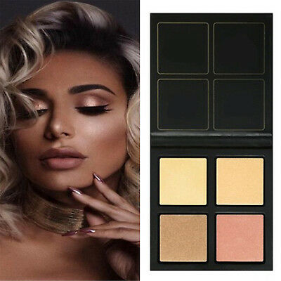 4 Color 3D Highlighter Face Powder Palette Eyeshadow Bronzer Gold Pink Beauty CH