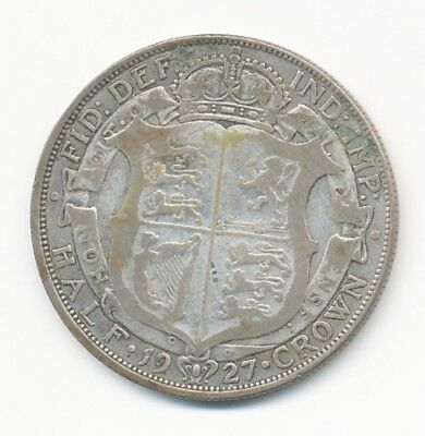 1927 Great Britain Half Crown George V .500 Silver Coin - Opens At .99C