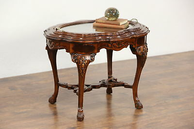 Carved Walnut & Bird Marquetry 1930's Vintage Coffee Table, Glass Tray