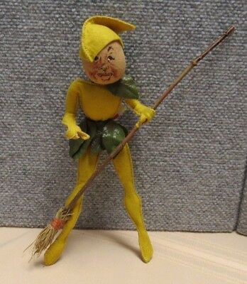 """Early Annalee Doll Elf With Broom 10 1/2"""""""