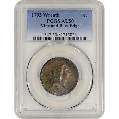 1793 US Flowing Hair Large Cent 1C - Wreath - Vine and Bars Edge - PCGS AU50