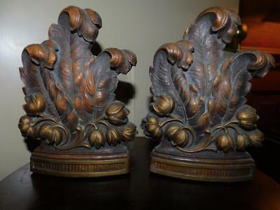 Vintage SYROCO WOOD SYRACUSE NY Hollywood regency bookends book ends