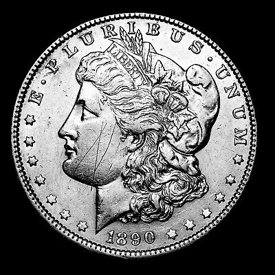 1890 P ~**ABOUT UNCIRCULATED AU**~ Silver Morgan Dollar Rare US Old Coin! #342