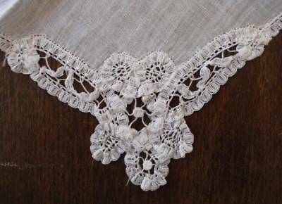 True Vintage Battenburg Lace Wedding Hanky Handmade White Bridal Linen