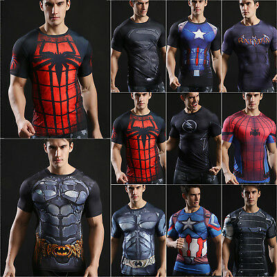 Mens Marvel Superhero Compression T Shirt Running Cycling Fitness Tops Spiderman