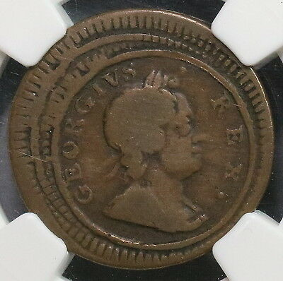 1723 NGC G 6 Triple Struck ERROR Farthing George I GREAT BRITAIN Coin 16071501CZ
