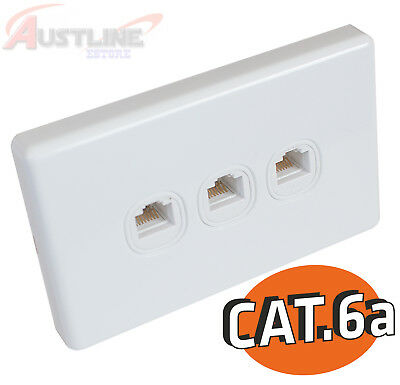Cat6a 3Port Gang Wall Plate Clipsal Style 3RJ45 Cat 6A Jack +C-ClipC180