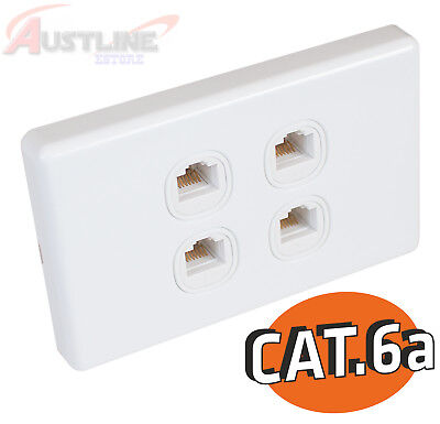Cat6a 4Port Gang Wall Plate Clipsal Style 4RJ45 Cat 6A Jack +C-ClipC180