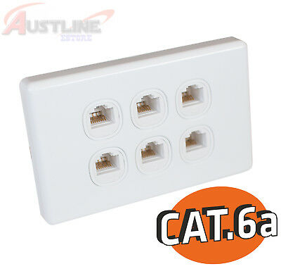 Cat6a RJ45 6Gang Wall Plate Clipsal Style Network LAN 6Port +C-Clip Aw6k6a