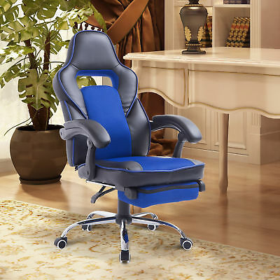 High Back Office Chair Racing Style Executive Gaming Recliner w/ Footrest - Blue