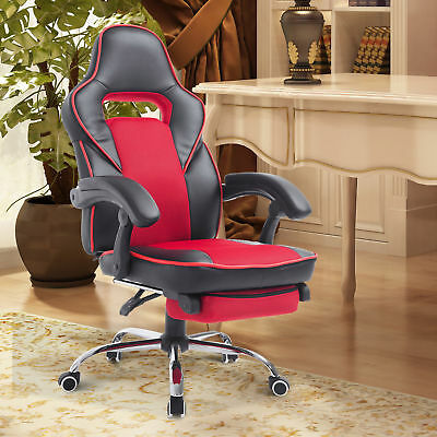 High Back Racing Style Executive Gaming Office Chair Recliner w/ Footrest - Red