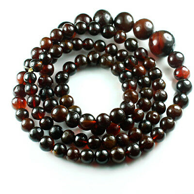 44.93g 100% Natural Mexican Blood Red Amber Bead Bracelet Necklace CSFb499